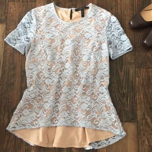 BCBGMAXAZARIA | Lt Blue/Nude Cacey Lace Top | XS